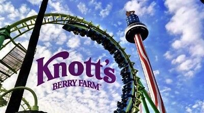 One 1 Knotts Berry Farm Adult/Child 1 Day General Admission Ticket Exp 6/30/2019