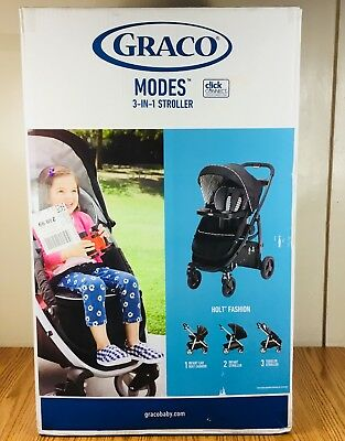 "Graco Baby Modes 3 In 1 Click Connect Stroller"" Holt Style  Retail Value 249.99"