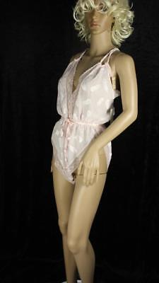 NOS Vintage 80s Shell Pink Teddy Size Large High Cut Legs High Waist Lace
