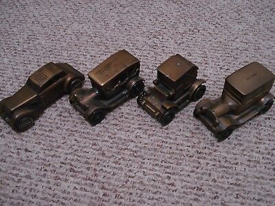 Vintage Lot of 4 Diecast Metal Advertising Banks, Antique Cars - 1974 BANTHRICO