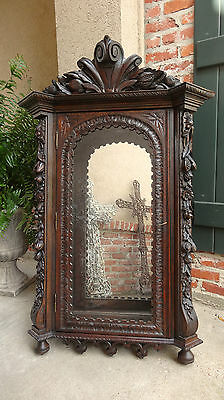 Antique French Carved Dark Oak Renaissance Wall Display Cabinet Vitrine Bookcase