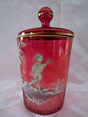 Vintage Mary Gregory Cranberry Glass covered Canister