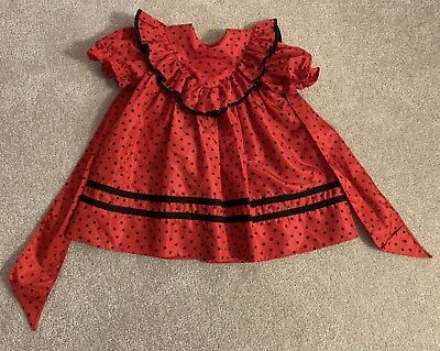 Debut Mini World Vintage Girls Christmas Dress Holiday Red Black Party Size 4