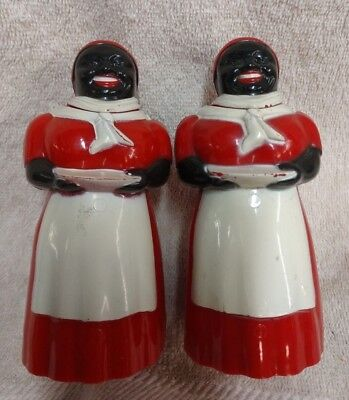 Pair Luzianne Mammy F & F Mold And Die Black Americana Figual Syrup / Creamers