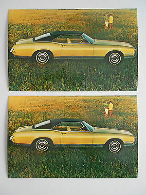 1968 lot of 2 Original Buick Riviera Sport Coupe Advertising Postcards