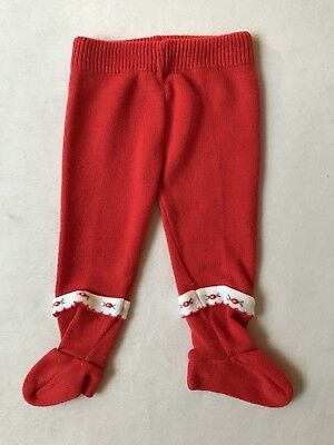 Vintage Red Footed Baby Leggings Sz 6-9 Months