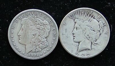 Two (2) Cull Morgan & Peace Silver Dollars- 1921-S & 1922-S 90% Damaged