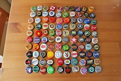 Set Of 100 Different Domestic Beer Bottle Caps. No Duplicates