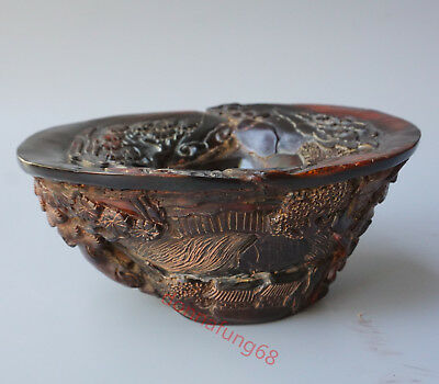 China Exquisite Hand-carved people landscape carving OX horn cup
