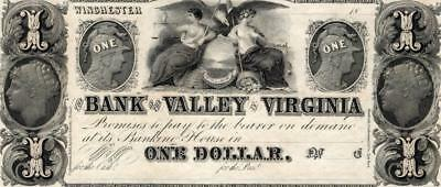 1800s $1 Bank of the Valley in Virginia . .UNC. condition.