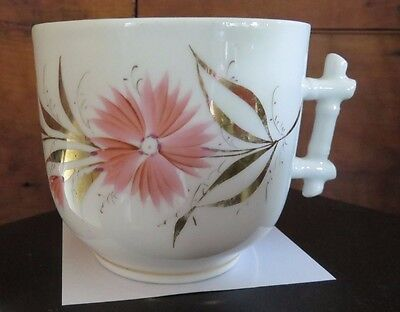 Antique Hand Painted Porcelain Cup - Coral flowers gold trim W/ Twig handle SALE