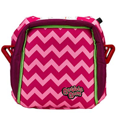 BubbleBum Backless Inflatable Travel Booster Car Seat, Pink Chevron BB0012