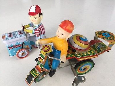 Two Folk Art Vintage Tin Wind-Up Toys Handmade Highly Collectable