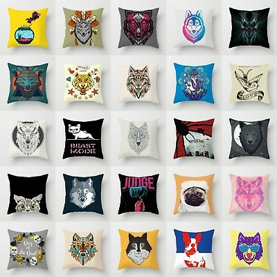 18'' Wolf King Polyester Waist Throw Pillow Case Sofa Home Animals Cushion Cover