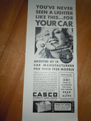 Casco Automatic Cigar Lighter For Your Car Print Magazine Ad 1937
