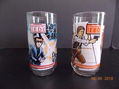 1983 Burger King Coca Cola Star Wars Return Of The Jedi Glass Han Solo & Luke