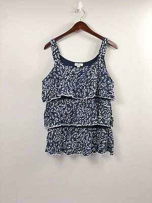 b0807692297 Dressbarn Womens Plus Size 1X Navy And White Leaf Print Layered Tank Top .