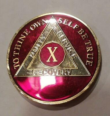 10 Year AA Sobriety Chip Recovery Challenge Coin 1 3/4 Inch Rich Red Enamel X