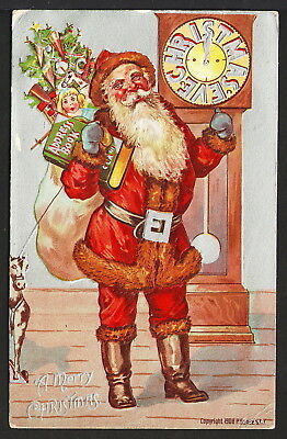 Red Suited Santa Claus with Pack of Toys Stands by Grandfather Clock at Midnight