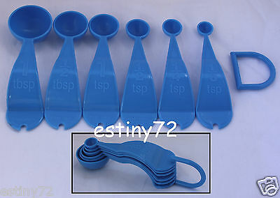 Tupperware Measuring Spoons Set (6) Raindrop Brilliant Blue New