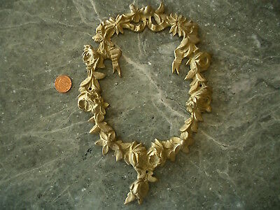 #3 Lg Heavy Brass Antique Vintage Floral Wreath Applique Ornament Embellishment