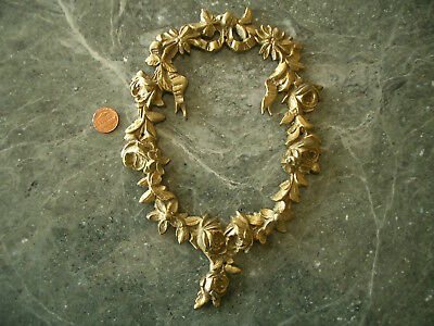 #4 Lg Heavy Brass Antique Vintage Floral Wreath Applique Ornament Embellishment