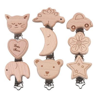 Natural Wood Pacifier Clip Cartoon Dummy Clips & Cases Baby molar Teether