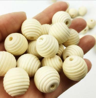 20pcs Natural Wood Round Bead Stripe Bead Baby Crafts&Pacifier Clip DIY 18mm