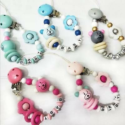 Baby Pacifier Clip Wooden Beading Bear Soother Pacifier chain Dummy Clips & Case