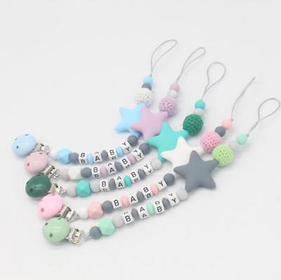 Baby Pacifier clip Silicone Beads letter Baby Pacifier chain Dummy Clips Toys