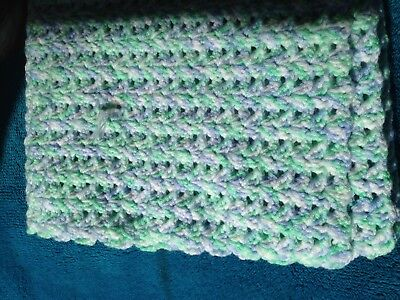 Handmade Cot Knitted Blue, White and Green Baby Blanket