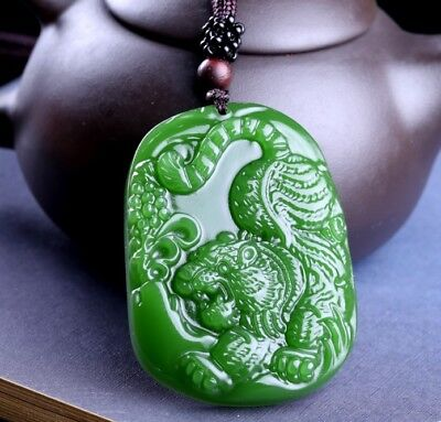 Beautiful Chinese Green Jade Tiger Pendant Necklace Charm Jewellery Fashion Acce