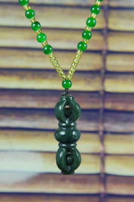 Chinese Natural Green Hand-carved  Hetian Jade nephrite Pendant +Free Necklace