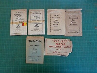 Vintage household iron replacement elements x 6, various brands