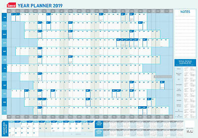 Sasco 2019 Year Yearly Wall Planner Blue White 870 x 610mm With Pen Kit