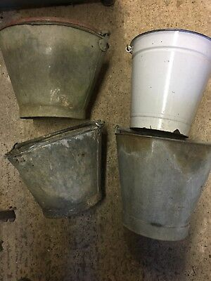Vintage Galvanised Buckets One Enamel