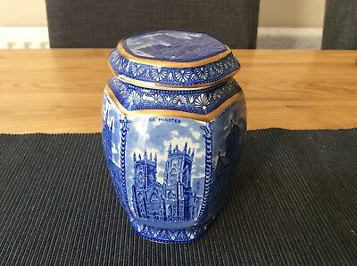 Rington, by Wade, highly decorative blue pattern ceramic tea caddy and lid.