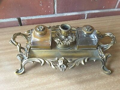 Art Nouveau  Desk Top Double Ink Well Stand Pen Tray candle holder  - Brass