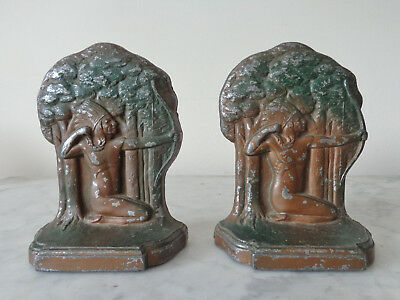 Antique Cast Aluminum Pair of Bookends American Indian shooting a bow and arrow
