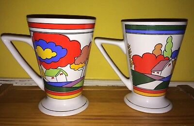 2x Clarice Cliff Style Art Deco Vintage Home Sweet Home Cups