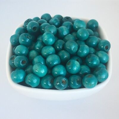 100X Turquoise Blue Wooden Beads 9x7mm For Macrame DIY Wood Craft Bead