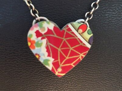 """Stunning  Custome Vintage Two Double Sided Enamel Sterling Heart Necklace 18"""""""