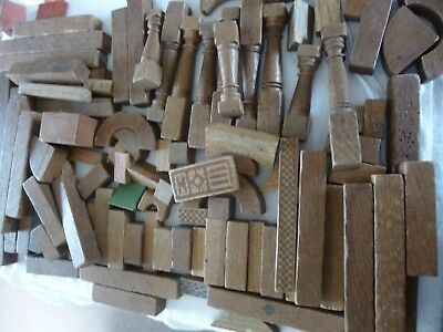 Antique/Vintage Collection Of Wooden Toy Building Bricks Ideal Up-Cycling /Craft