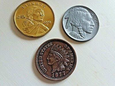 """(3) U.S. COINS Over-sized Large 3"""" Metal Medallion Paperweights"""
