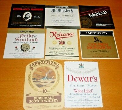 Collectable whiskey labels - Set of 8 assorted whiskey metric labels MINT