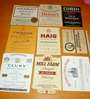Collectable whiskey labels - Set of 9 assorted whiskey imperial labels MINT