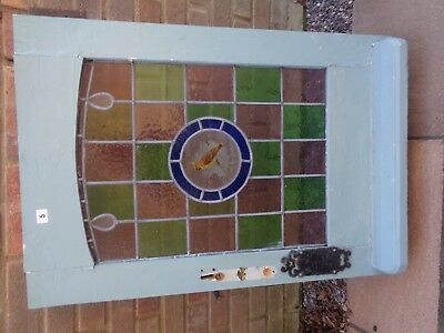 Vintage Stained Glass Leaded Window Door Bird Image Old Edwardian Victorian
