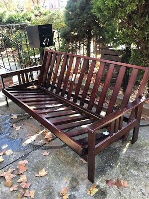 Solid Wood Slatted Futon Frame Full Size With Arms