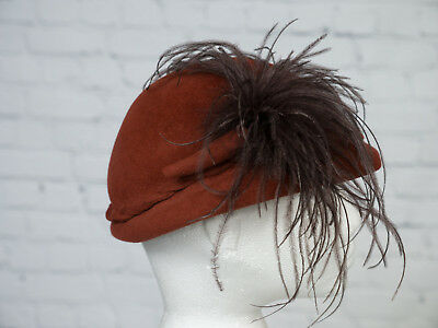 VINTAGE Hat Tan Pill Box Brown Feather Plume Peaky Blinders Victorian Goodwood