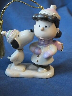 Lenox Peanuts Lucy's Christmas Smooch Ornament with Lucy and Snoopy